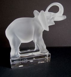 Lalique Clear U0026 Frosted Crystal U201celephantu201d Paperweight Trunk UP Figurine