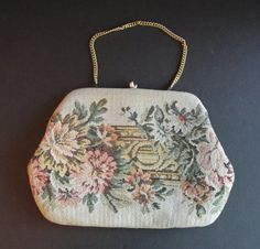 SALE 1960's Floral #Tapestry #Clutch Hand Bag Petite Point Purse Gift