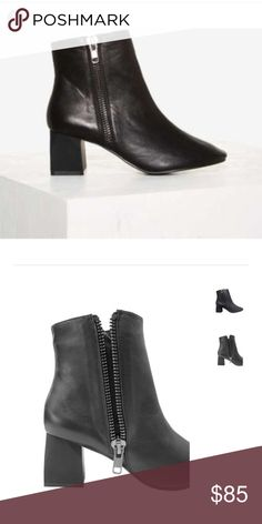 """SOLD OUT Intentionally Blank Fit Leather Boot NEVER WORN - BRAND NEW - SOLD OUT - It's all in the details, and this boot brings a ton of them! Soft shell round toe, architectural matte heel and oversized zip on the out-step, the FIT is a unique and style forward staple. Genuine leather lining and cushioned insole.  Black Leather Heel height: 2.5"""" True to size Imported Intentionally Blank Shoes Ankle Boots & Booties"""