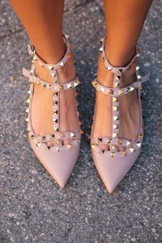 Valentino Rockstud Studded Ballerina T Strap Flats Blush | eBay