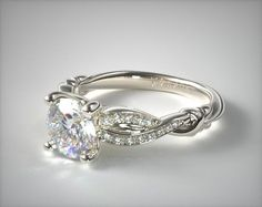 14K White Gold Pave Crossover Engagement Ring | 17934W14 - Mobile