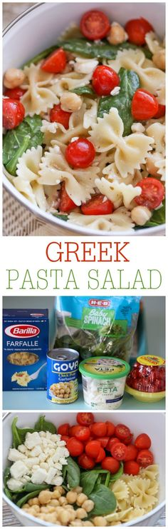 Greek Pasta Salad - bow tie pasta with feta cheese, cherry tomatoes, spinach, chickpeas and Greek Dressing!! Simple and delicious!