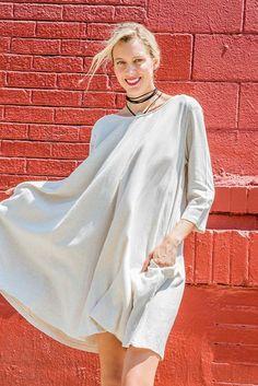 Cream Linen Flare Mini Dress