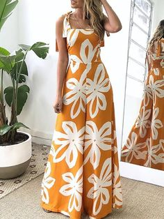 Shop Floral Print Tied Shoulder Wide Leg Jumpsuit – Discover sexy women fashion at IVRose Women S Over 50 Fashion Styles 2015 wow these womens fashion are really amazing Image# 6028869885 Approaches to increase your clues about womens fashion casual wom Women's Fashion Dresses, Women's Dresses, Dress Outfits, Bodycon Fashion, Dress Clothes, Fashion Clothes, Trend Fashion, Womens Fashion, Fashion Tips