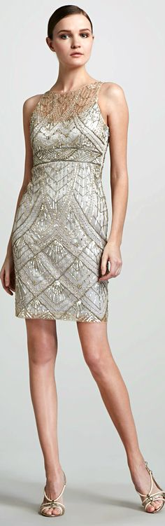 Sue Wong ● Champagne Beaded Cocktail Dress