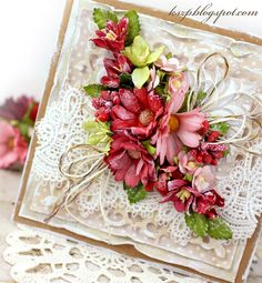 Wild Orchid Crafts: Card with red flowers Hand Made Greeting Cards, Greeting Cards Handmade, Heartfelt Creations Cards, Mixed Media Cards, Shabby Chic Cards, Pink Cards, Wild Orchid, Fancy Fold Cards, Beautiful Handmade Cards