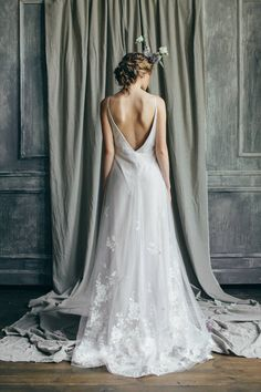 Romantic Low Back Wedding Dress