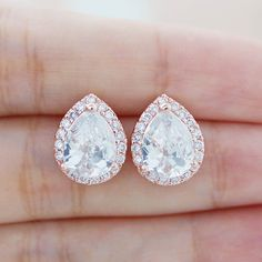 Wedding Jewelry Bridal Jewelry Bridal Earrings Bridesmaid Gift Bridesmaid Jewelry Rose Gold Plated LUX Cubic Zirconia Tear drops Ear Posts