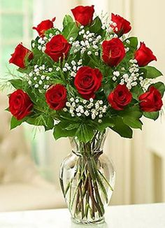 Shade Garden Flowers And Decor Ideas Rose Elegance Premium Long Stem Red Roses - Freshest Premium Long-Stem Red Roses, Arranged By Our Expert Florists With Fresh Gypsophila In A Classic Glass Vase Rosen Arrangements, Floral Arrangements, Dozen Red Roses, Fresh Flowers Online, 800 Flowers, Rose Vase, Roses In A Vase, 12 Roses, Beautiful Flower Arrangements