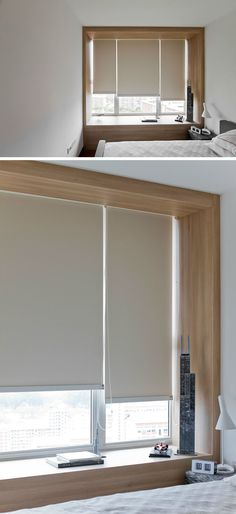 7 Contemporary Ideas For Window Coverings // ROLLER SHADES -- Available in a range of opacities, these window coverings are super easy to use and can simply give a bit of extra privacy or be completely black out letting you sleep in total darkness.