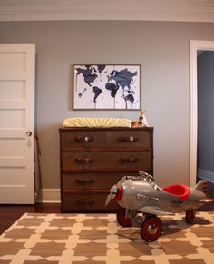 My husband made me pin this because he likes the airplane and claims we WILL be getting one for our future child...I like the dresser.