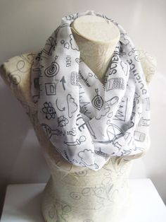 Science İnfinity Scarf , Chemistry Scarf , Atom Printed Scarf , Molecule Printed Scarf by dreamexpress on Etsy https://www.etsy.com/listing/217555651/science-infinity-scarf-chemistry-scarf