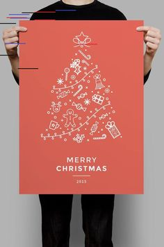 Creative Christmas Poster Design Ideas & Examples - Daily Design Inspiration Get inspired by poster examples to create the perfect creative Christmas poster! And make sure everyone knows about your Christmas or Holiday event. Christmas Tree Poster, Merry Christmas To All, Red Christmas, Christmas Icons, Business Christmas Cards, Hygge Christmas, Classy Christmas, Holiday Cards, Christmas Time