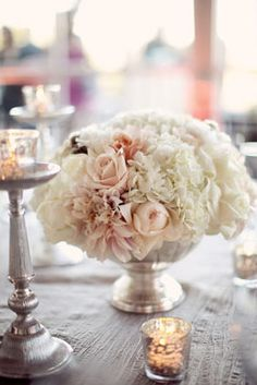 Blush and mercury glass, like the flower varieties Hydrangea, Dahlia, Garden Roses in ivory, blush & champagne