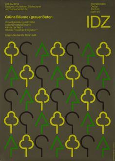 Original Vintage Poster IDZ Berlin Graphic Design Modern Trees German 1980s Pop