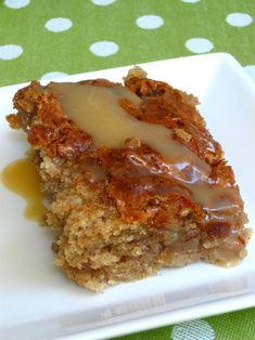 Honeybun Cake with Caramel Sauce Recipe ~ Says: This cake is a simple, fuss-free dessert to make and serve. More importantly, though, it's dynamite! The buttery cake base with the deep cinnamon swirl reminds me of the best sort of coffee cake, and the buttery caramel drizzle makes it gooey, just like a real honeybun. Each bite is a revelation of different flavors, since the swirl ensures you get a different proportion of cinnamon to butter cake with each forkful. In short: YUM!