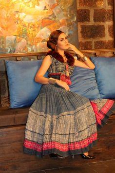 vintage hmong indigo batik boho gypsy skirt