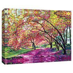 Add a pop of style to your foyer or dining room with this eye-catching canvas giclee print, showcasing a cherry tree-lined street.