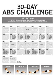 A 30-day Abs challenge. Bur your stomach fats and build your six-pack.