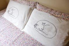 Lap Cat pillowcase set  screen printed sleeping by RoostAndHive, $18.00