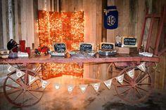 Wedding reception desert bar on a vintage wagon at our barn wedding venue in Alabama whiteacresfarms.com
