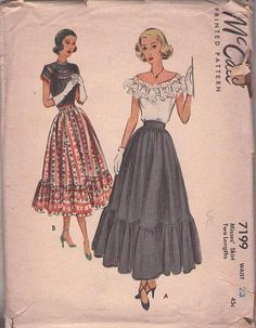 Gathered Skirt with Flounce in Two Lengths Pattern McCALL 7199 1948 Vintage Rockabilly Skirt Pattern UNCUT, Factory-Folded Waist 28 – Skirt Fashion Vintage Dress Patterns, Vintage Skirt, Vintage Dresses, Vintage Outfits, 1940s Fashion, Vintage Fashion, Edwardian Fashion, Illustrations Vintage, Mccalls Sewing Patterns