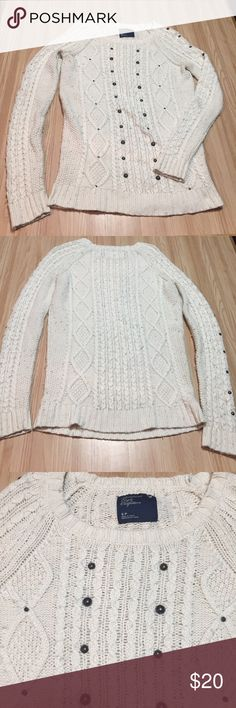 AE Studded Tunic Sweater Gently worn. Cream sweater with bronze studs throughout. Pilling. Tunic length - great with leggings! Fits a little bigger.   no trades | offer button only American Eagle Outfitters Sweaters