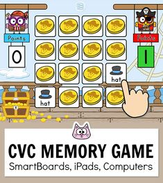 Practice matching 150 CVC words with this engaging pirates theme phonics memory game. This fun game for kids works with any device including iPads, computers, Smartboards, interactive whiteboards and Chromebooks in the classroom. An engaging addition to your kindergarten classroom literacy centers or use it whole group and easily keep everyone's attention. Runs from the Pink Cat Games educational website. #gamesforkids #literacycenters #kindergarten #smartboard #phonicsgames Educational Websites For Kids, Fun Educational Games, Cat Games, Kitty Games, Owl Theme Classroom, Classroom Games, Online Games For Kids, Fun Games For Kids, Phonics Games