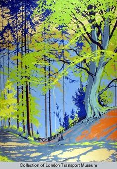 Poster collection, London Transport Museum - Haresfoot Woods; Berkhamsted, by Walter E Spradbery, 1931