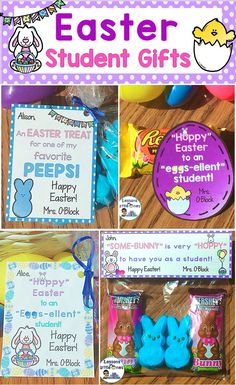 Ideas for personalized Easter student gifts and cute gift tags. The gift tags can be attached to any Easter treat.https://lessons4littleones.com/2017/04/06/easter-student-gifts-gift-tags/