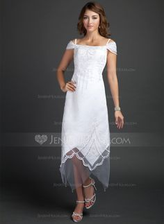 A-Line Princess Off-the-Shoulder Tea-Length Satin Wedding Dress 55126d5bd53