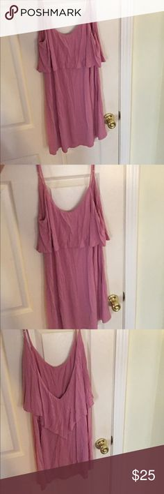 Pink Dress Pink/purple colored dress low back with a small hole you can barely notice. Wrinkly from being in a drawer Tobi Dresses