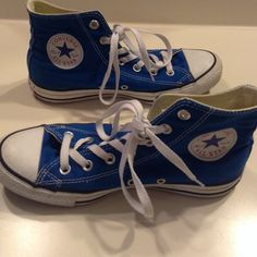 Blue Converse Blue Converse Size 6 in Men 8 in Women Only a little dirty on the white areas from wear Converse Shoes Sneakers
