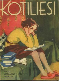 Schoolgirl with books at home. Cover art for Kotiliesi Magazine, March, 1936 (Finland). Martta Wendelin (Finland, © Estate of Martta Wendelin. The Tuusula Museum of Art has a dedicated. Reading Art, Woman Reading, I Love Books, My Books, People Reading, Children Reading, Books To Read For Women, Lectures, Oeuvre D'art