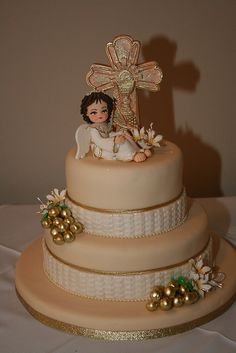 GIRL HOLY COMMUNION CAKE by CAKES Variedades Dalila, via Flickr