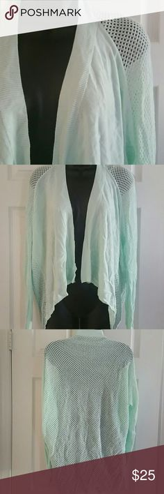 Sunday sale!  Bebe mesh drape shawl cardigan Pretty pastel mint color Mesh drape, open cardigan All mesh in the back Sleeves are mesh at the top and knit towards the wrist. Sleeves are smaller towards the wrist. 100% rayon bebe Sweaters