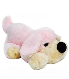 FAO Schwarz Penelope the Pup | Penelope the pink dog is sweet, soft and fluffy. She's fun to cuddle with her big snout, nose and floppy ears. At a whopping 18 inches, she's big enough to use as a comfortable pillow at nap time or bed time. It's easy to see why Penelope becomes a favorite among stuffed animals.
