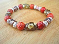 Men's Spiritual Bracelet with Tibetan Chunky Agates by tocijewelry, $58.00