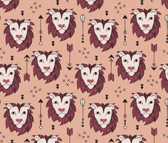 Cool scandinavian style lion and arrows safari animals kids illustration geometric pattern in coral and pink fabric by little smilemakers on Spoonflower - custom fabric