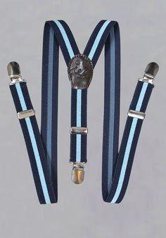 Bretelles à pinces rayées de bleu ciel et bleu marine pour garçon d honneur c788e3205c49