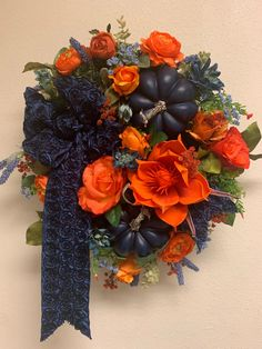 Excited to share this item from my #etsy shop: Fall Pumpkin Floral Wreath-  Pumpkin Pandula Wreath- Navy & Orange Fall Wreath- Fall Home Decor By Holidaze- Floral Wall Art . . . #bluedecor #fallwreath #navy #pumpkins #pumpkin #floral #wreathdesigner #holidaydesigner #seasonal #wallart #roses #orange #door #frontdoordecor #google #instagood #pinterest #instalike #designerribbon #rosetteribbon #thanksgiving #halloween #mixedflorals #gifts