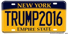 Donald Trump For President 2016 Novelty License Plate - New York The Empire State