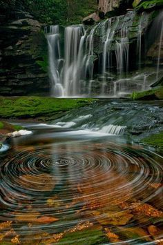 The water spirals of Elakala Waterfalls ~ Blackwater Falls State Park, West Virginia