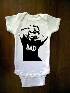 Blondie The Bad Black And White Stencil Baby One by trulysanctuary, $16.00