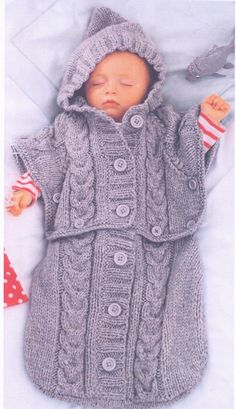 BaBY  CABLE ARaN WiNter HooDED SLEePING BAG by Crafting4Ever2013, $3.00