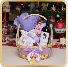 Cos cadou de Craciun Light Lavender - KarinGifts.ro Christmas 2015, Wicker Baskets, Cos, Lavender, Gifts, Salads, Presents, Favors, Gift