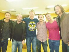 Misha, Mark Sheppard, Mark Pellegrino, Richard, ?, and Jared convention candid