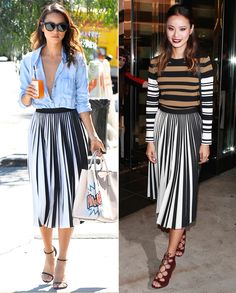 Jamie Chung shows us how to style a pleated skirt in two vastly different ways.