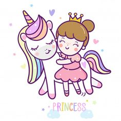 Magic unicorn vector with a princess cartoon Pastel color. Perfect for kid's greeting card design, t-shirt print, inspiration poster for child or baby- Vector isolated Cute Unicorn, Unicorn Party, Unicorn Birthday, Chibi Kawaii, Kawaii Doodles, Unicorn Princess, Princess Cartoon, Kawaii Drawings, Cute Drawings