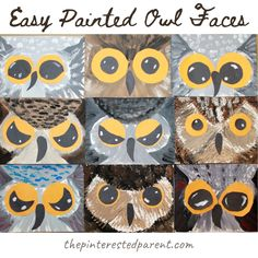 These painted owl faces are quick and easy for the kiddos. This easy painting project focuses on their beautiful peepers and those adorable feathered faces. Easy Painting Projects, Painting For Kids, Art For Kids, Paper Mosaic, Mosaic Crafts, Black Construction Paper, Paper Owls, Poinsettia Flower, Owl Crafts